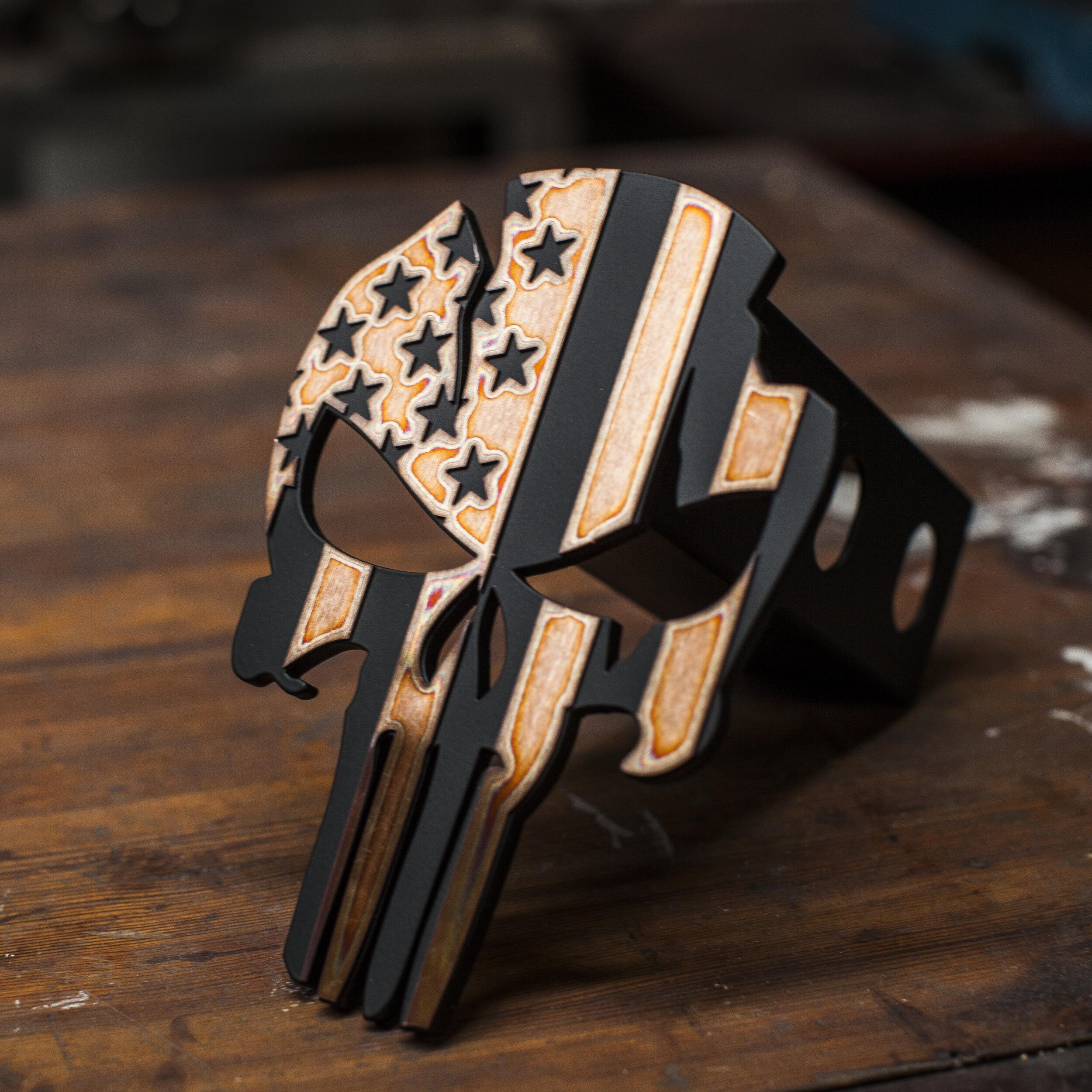 Kempter Kustoms Punisher Distressed Red Trailer Hitch Cover