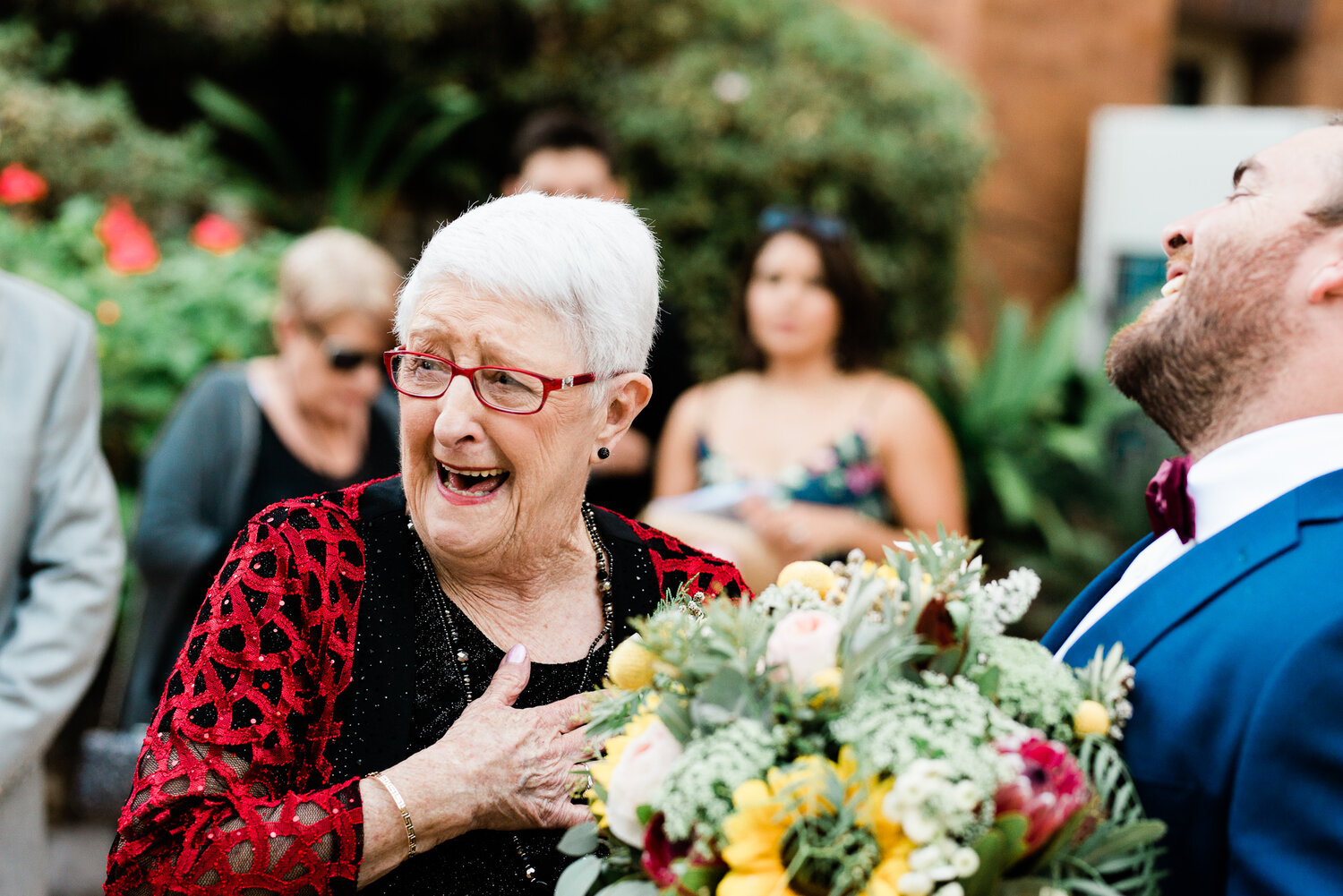 Nanna having a happiness heart attack, during Emily and Ben's wedding in Brisbane.