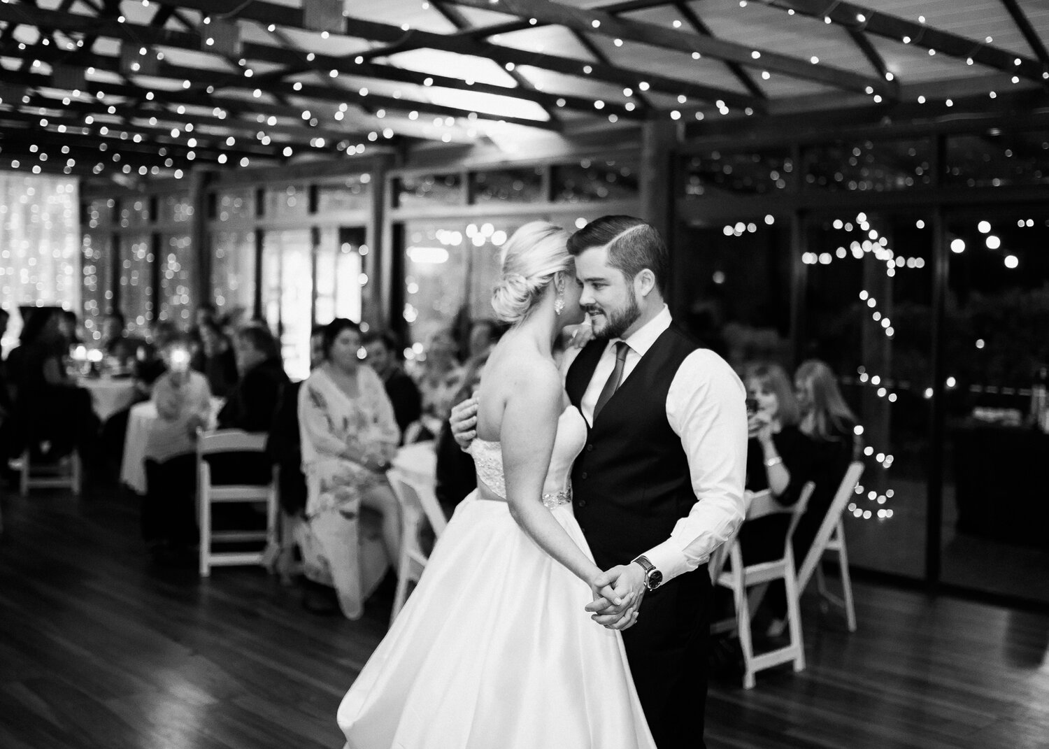 Bonnie and Tom in a world of their own during their first dance at their wedding in Brisbane.