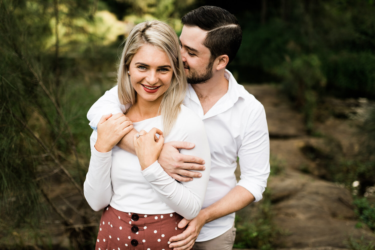 Bonnie and Tom, nailing the style vibe during their engagement session at Bunya Riverside Crossing in Brisbane.