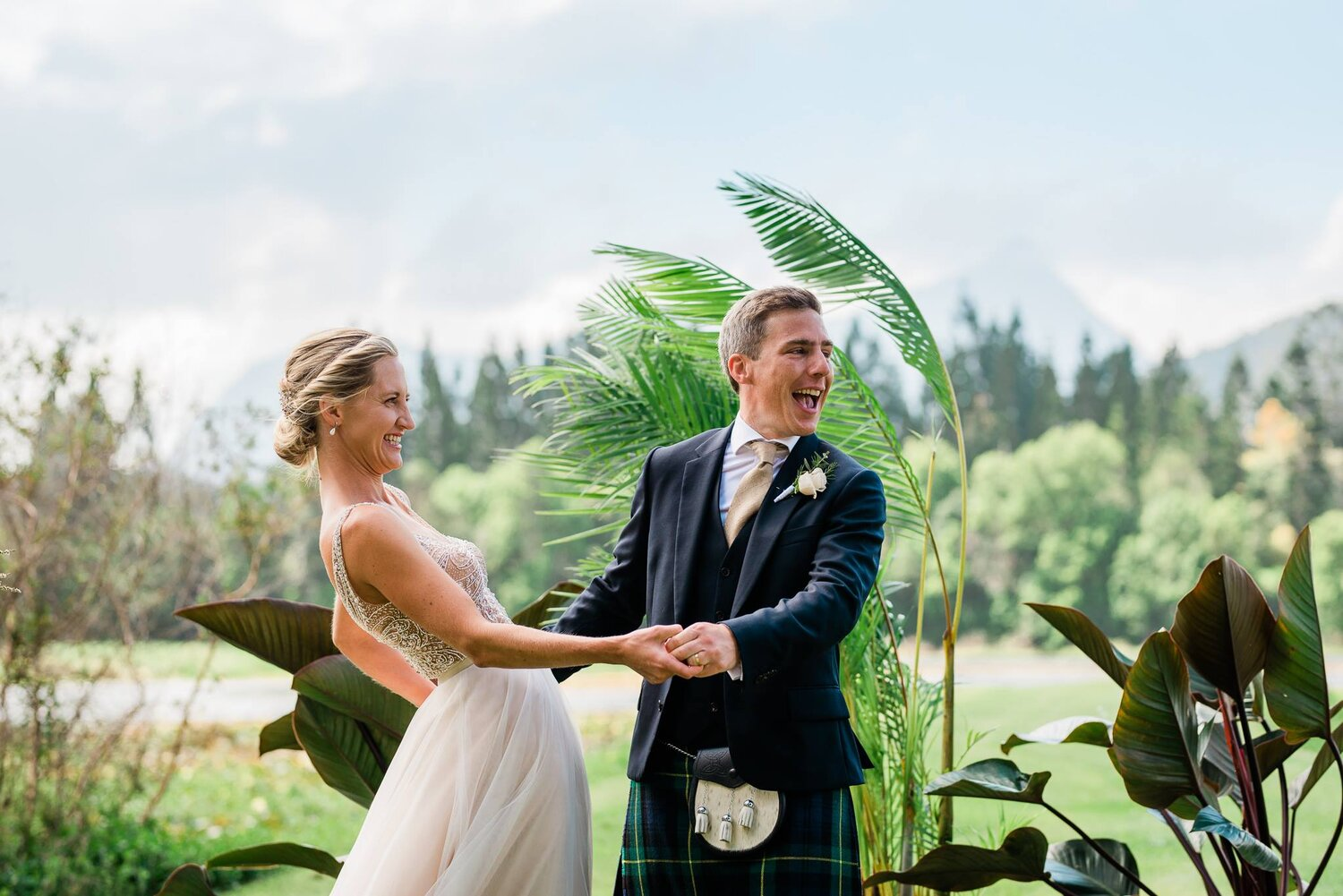 Cath and Ali having the best day of their lives at their Midginbil Hill (Northern NSW) wedding (feat. amazing plants).