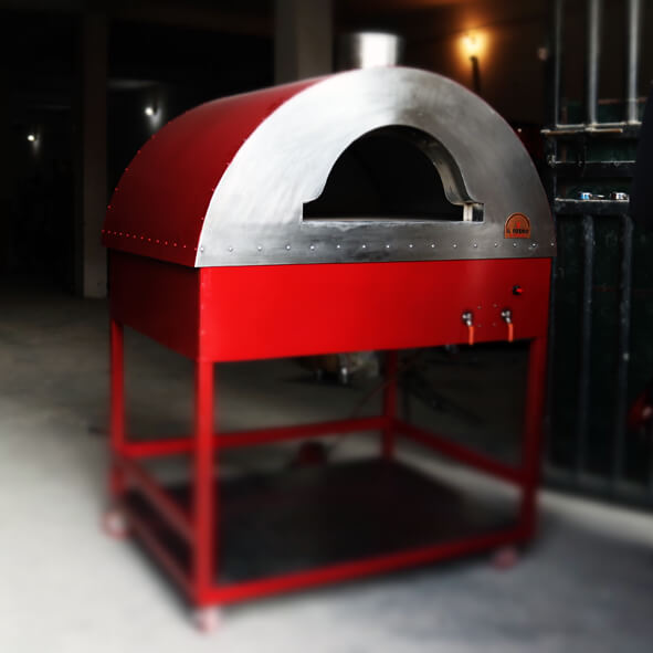 A red wood fired oven