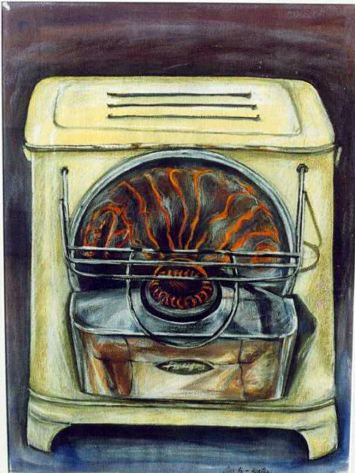 Oil Heater , pastel and gouache on paper
