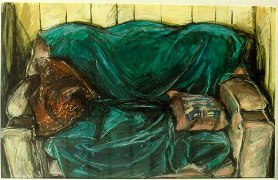 Sofa (Clothed) , 1986, gouache on paper
