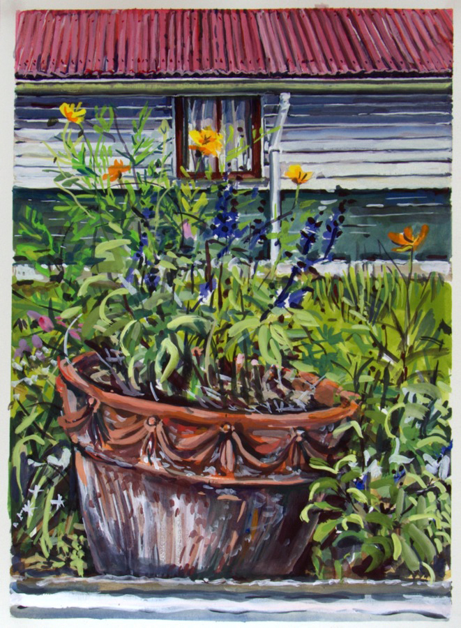 South Side (cosmos and salvia) ,2013, gouache on paper