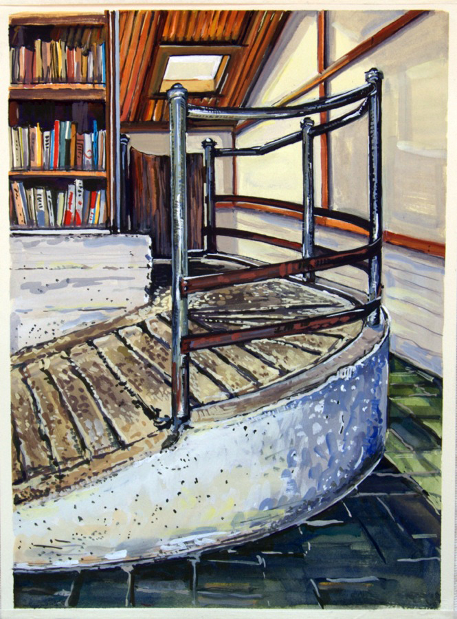 Cattle Ramp and Books , 2013, gouache on paper