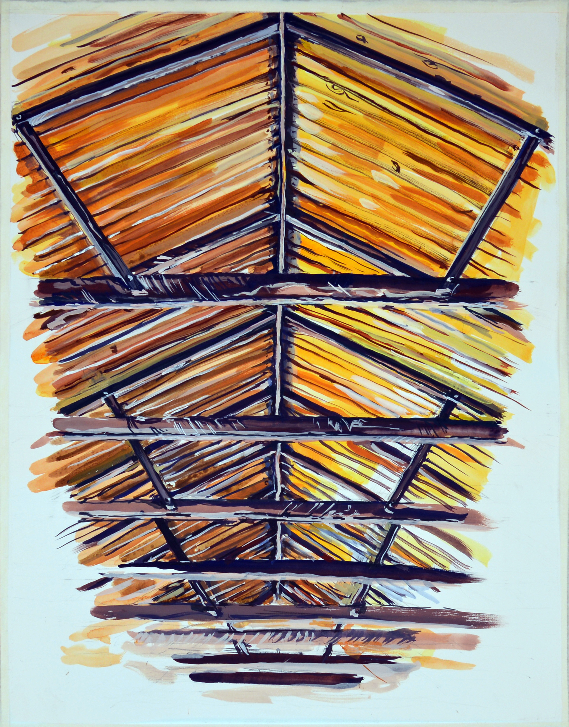 Rafters 1 , 2013, gouache on paper