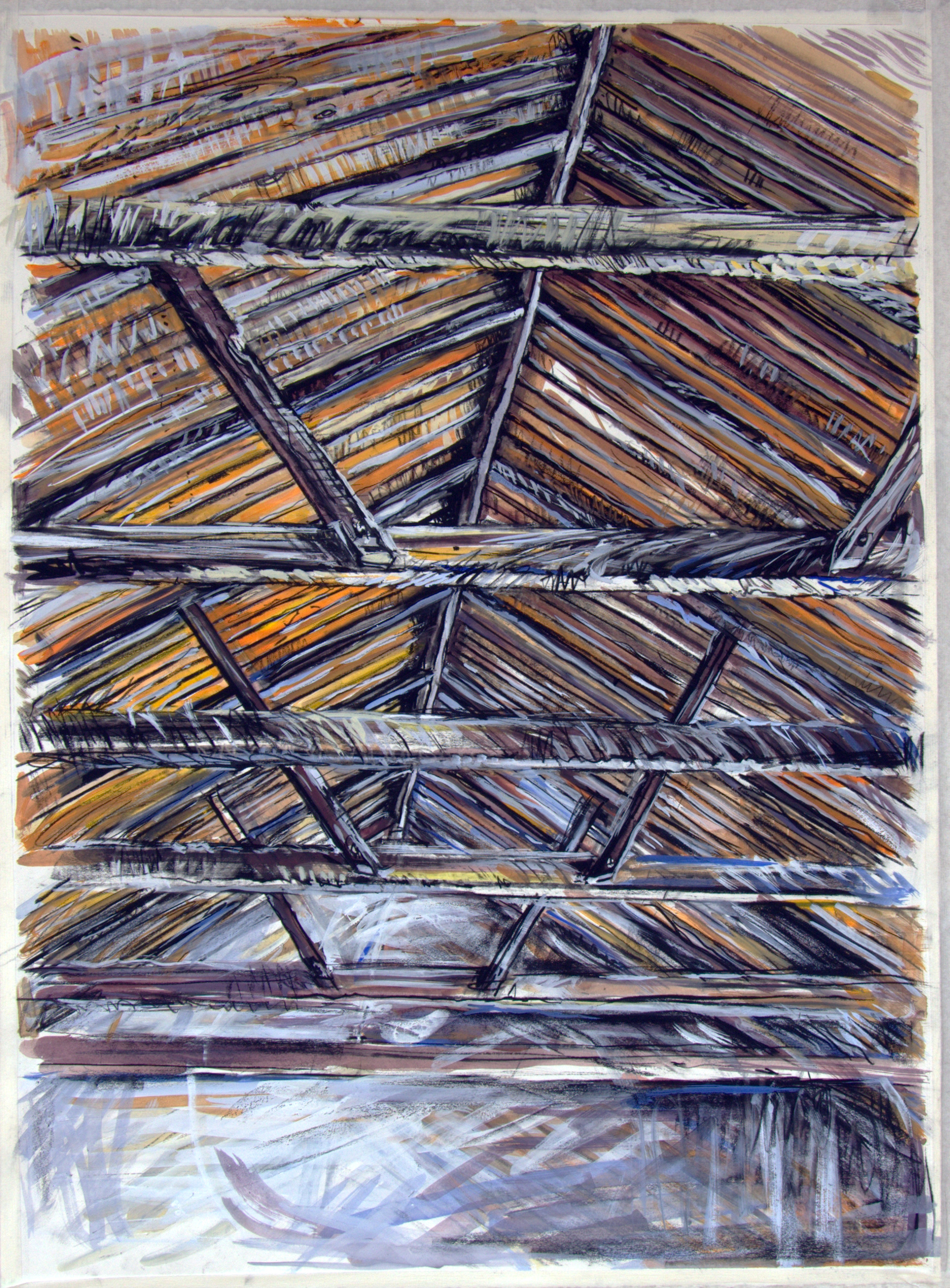 Rafters 3,  2013, gouache on paper