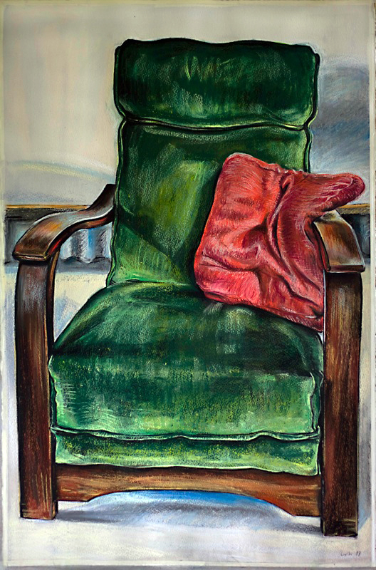 Green Chair , 2012, gouache on paper