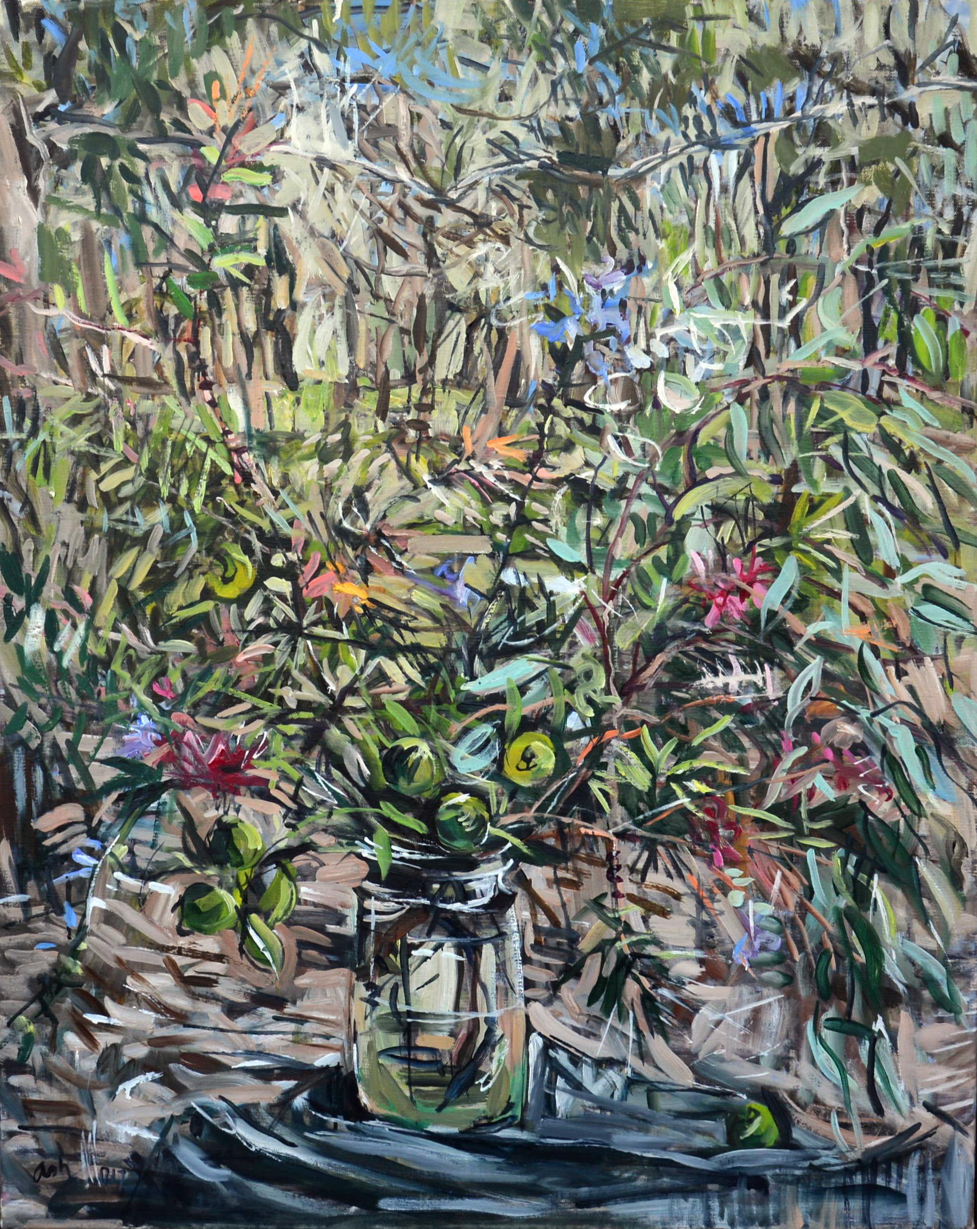 Bottle brush and bush lemon in the landscape , 2017, oil on linen, 100cm x 80cm