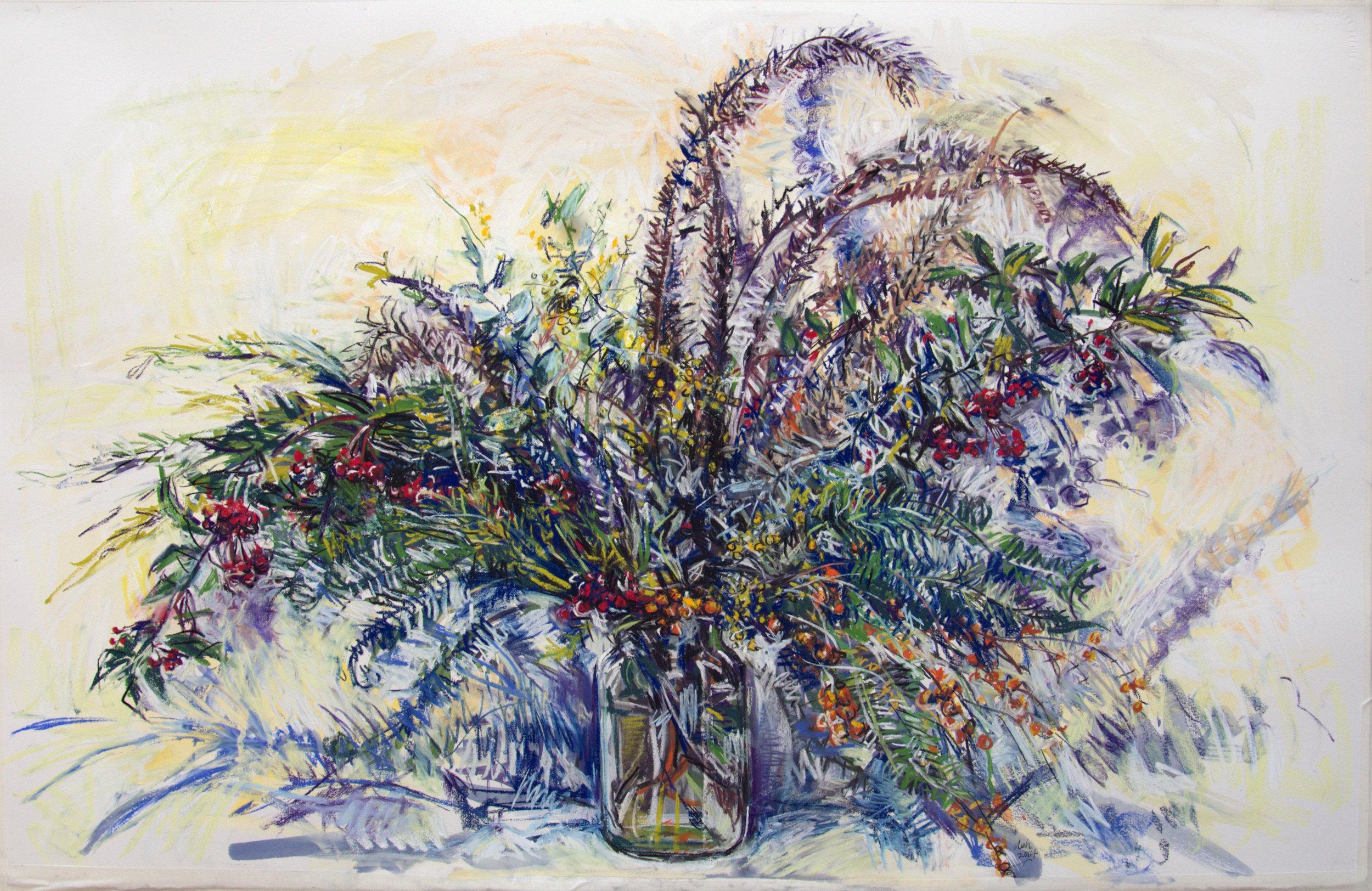 Brisbane bouquet , 2015, conte crayon on rag paper, 65cm x 100cm
