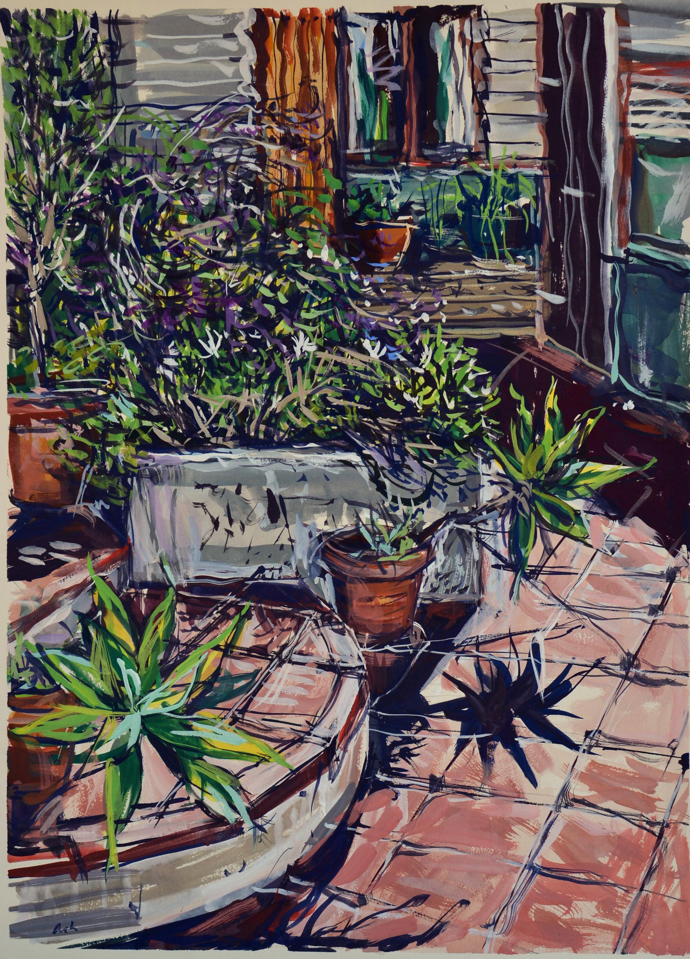 Garden in the sun  ( 1 ), 2017, gouache on rag paper,76 x 56cm