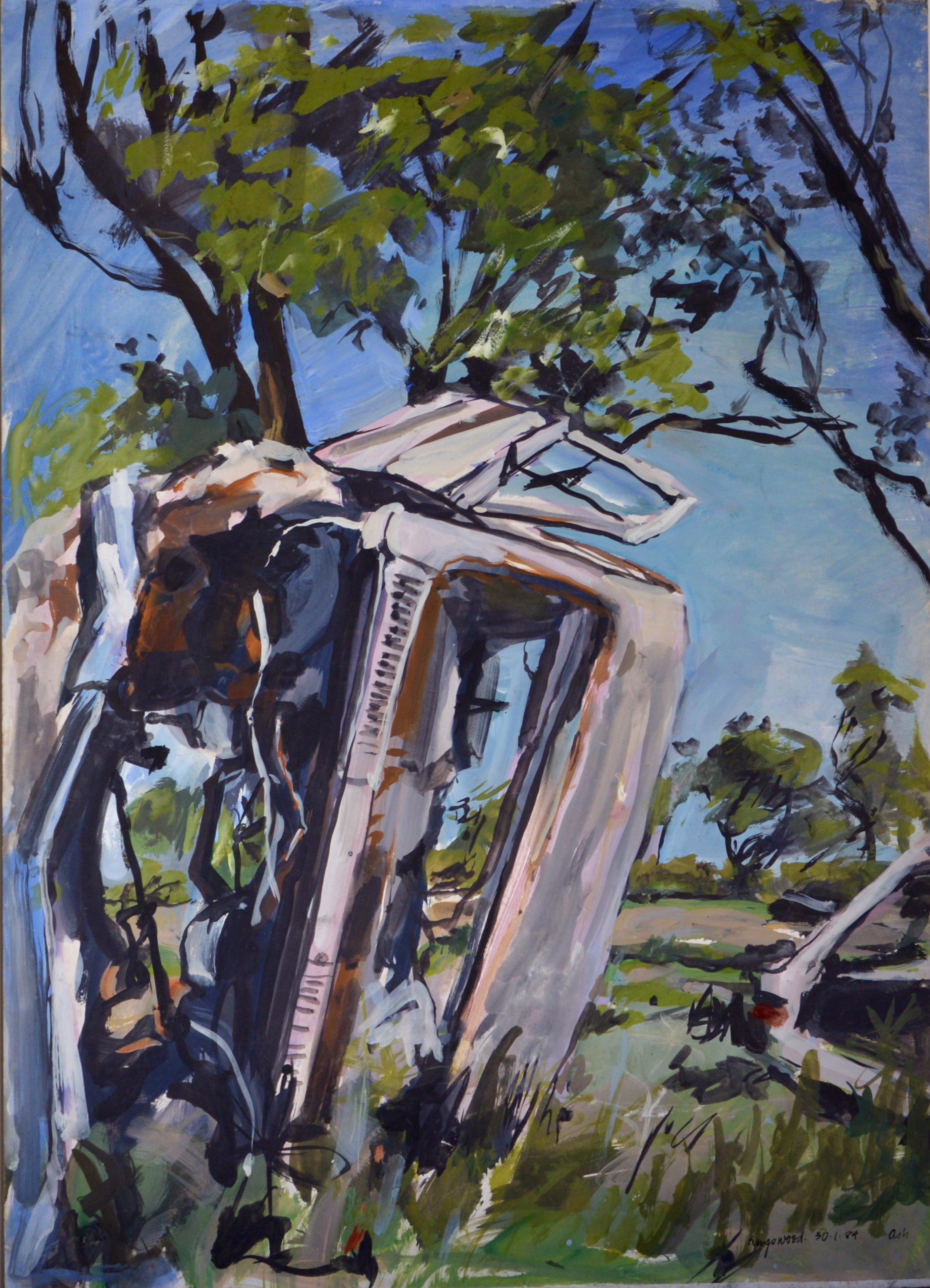 Wreckage (Kingswood) 1984 gouache on paper 85 x 61cm