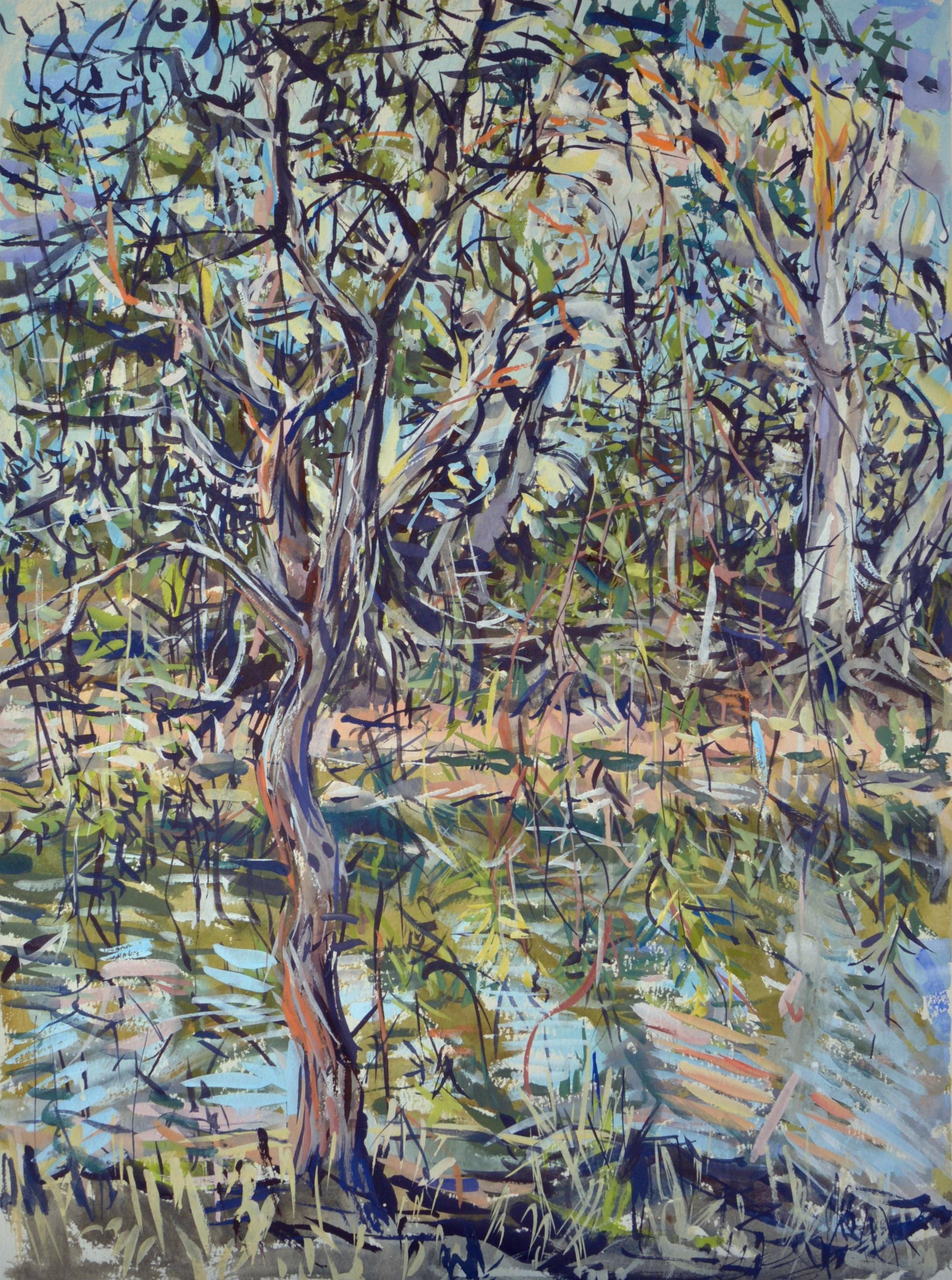 Brigalow Creek Evening (Doolan Tree) 2018 gouache on rag paper 76 x 54cm