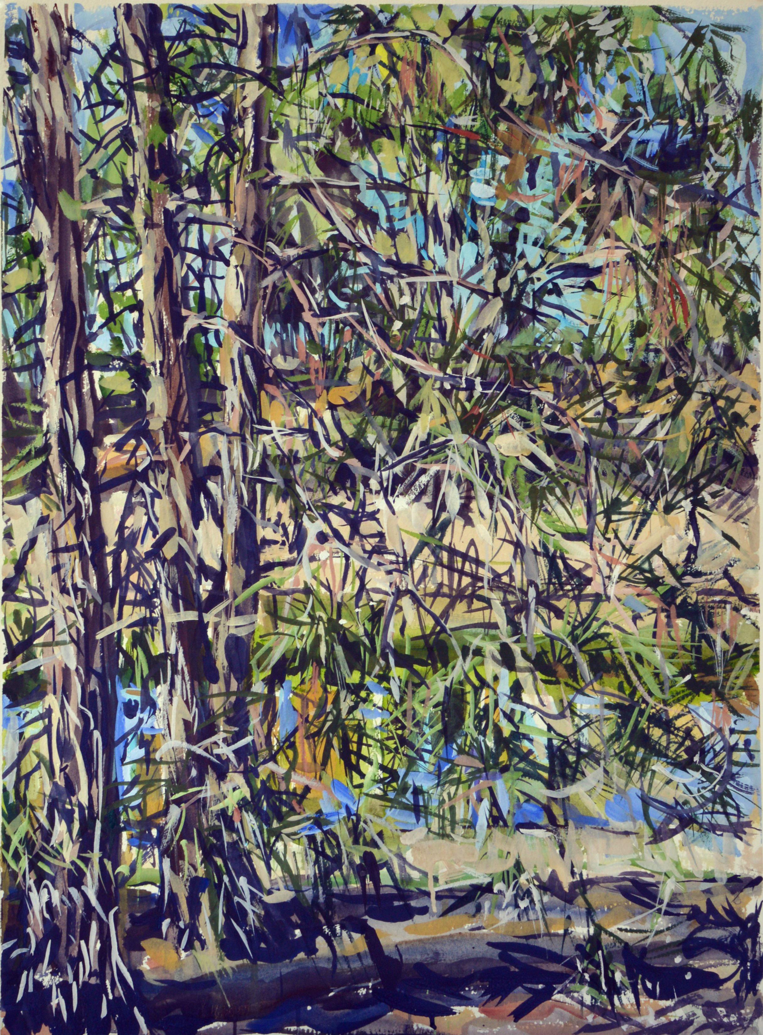 Brigalow Creek Midday (Belah Tree) 2018 gouache on rag paper 76 x 54cm