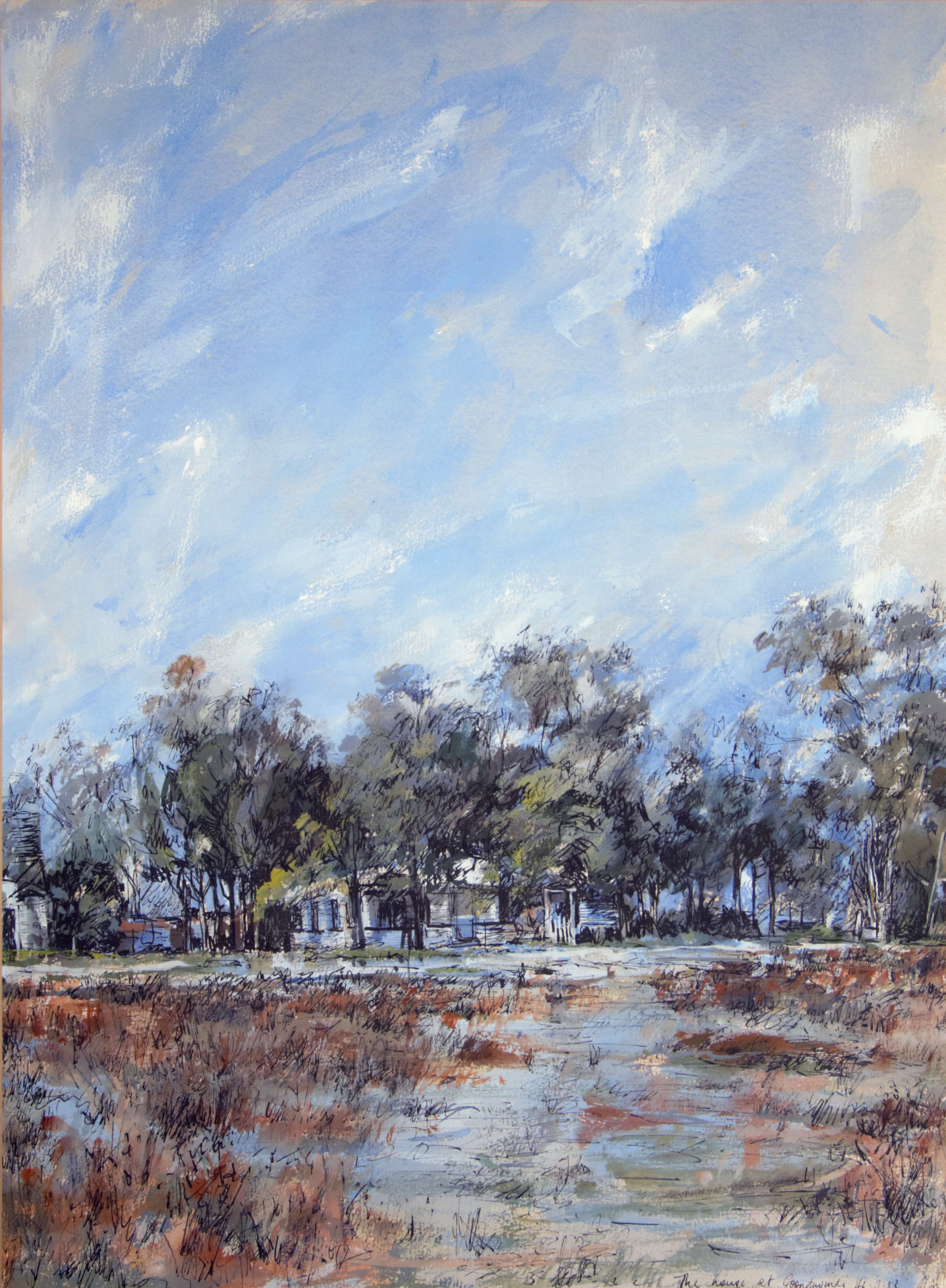 The House at Goondiwindi 1983 Ink and gouache on rag paper 73 x 53cm