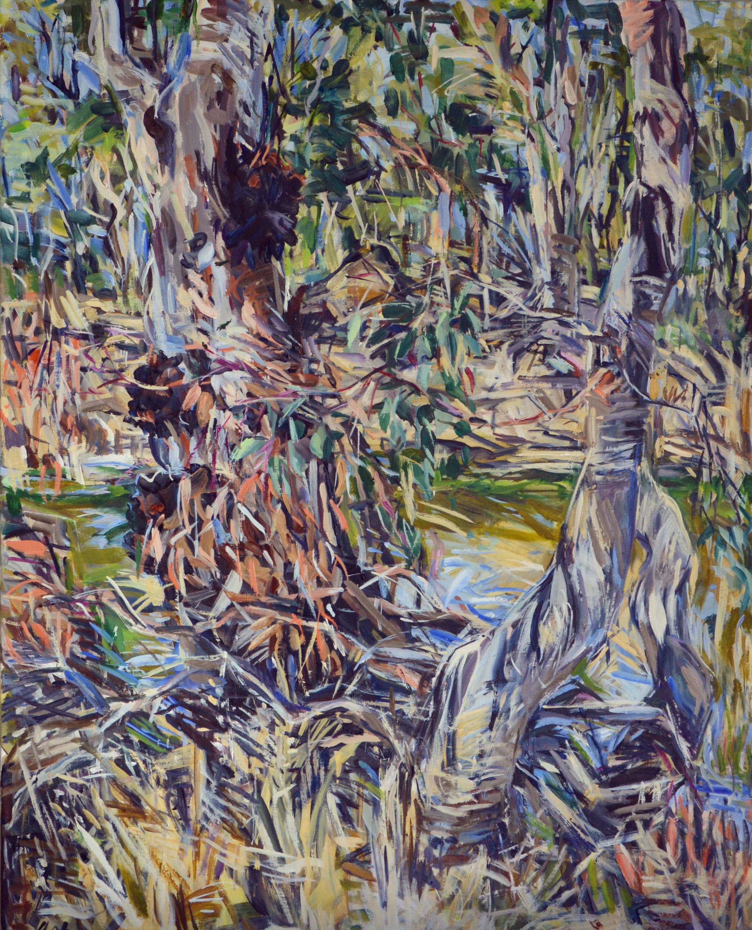 Trees on Brigalow Creek 2018 Oil on Belgian linen 100 x 80cm