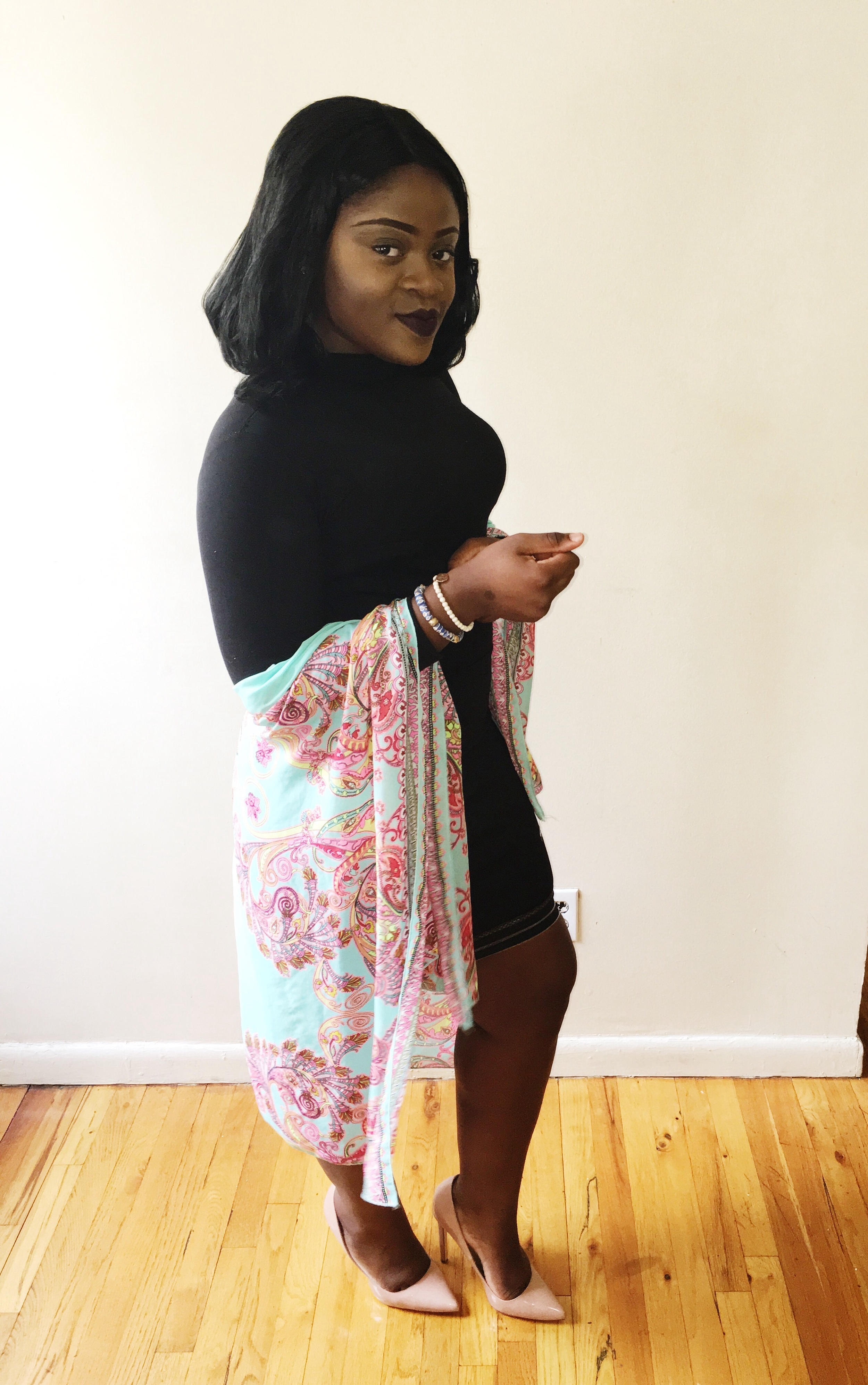 So for Easter Sunday 3/27/16 I decided to wear All Black (Lol) I know your thinking but why? Black is my color like I can wear all black all week in different styles and be ok.. But on Easter Sunday I wanted to have a little color for victory! So I added a floral wrap and nude pair of heels to make it POP