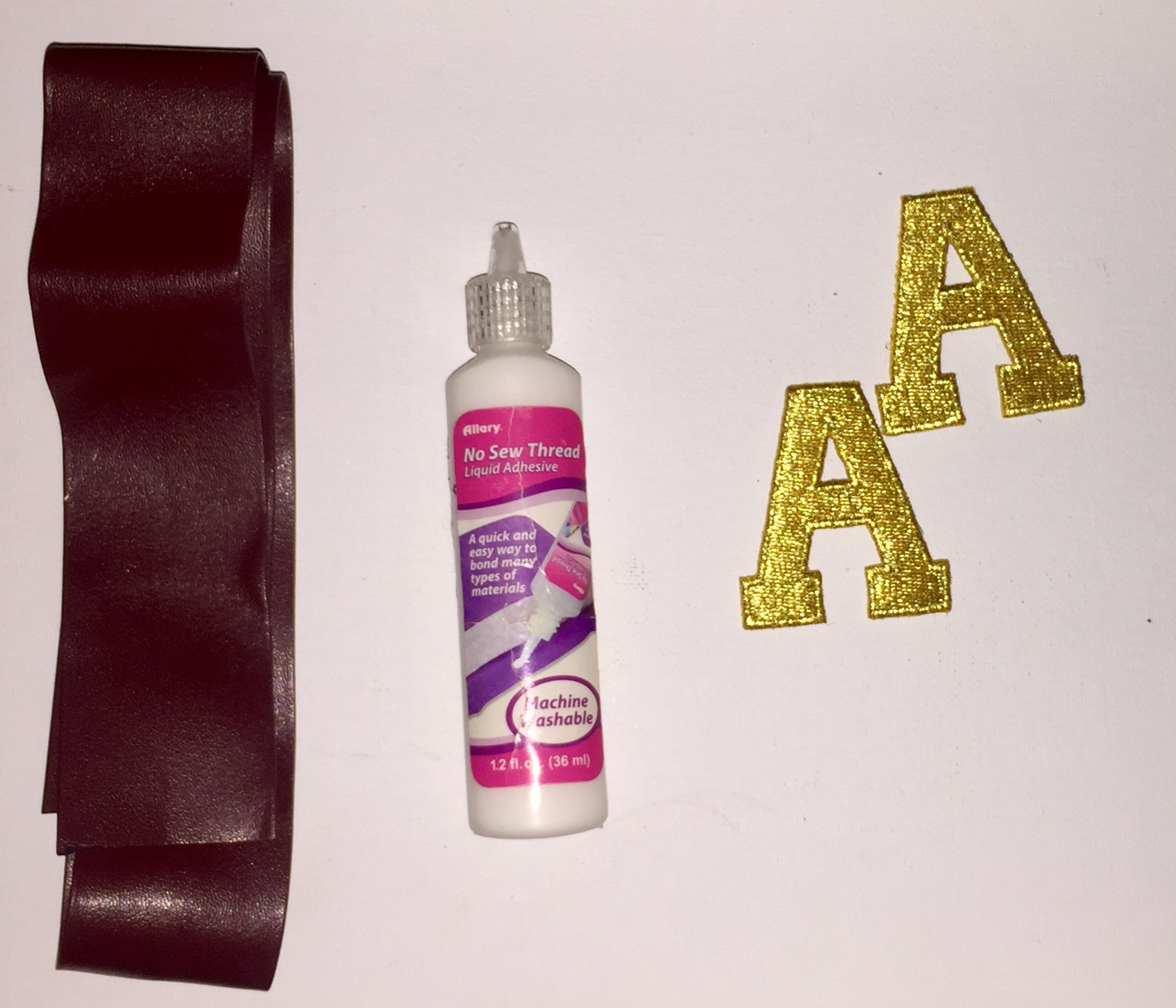 Items Used - -No Sew Thread Glue-Card-stock Paper in Metallic Gold-1 yard of Leather-Tape