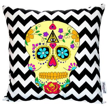 Day of the dead geometric cushion £32  www.notonthehighstreet.co.uk