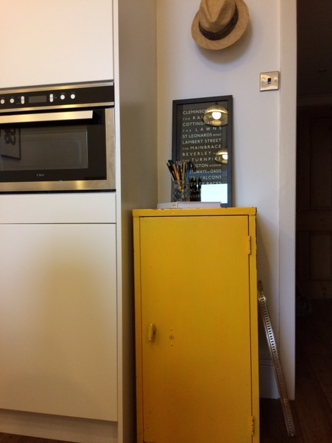 I picked up a pair of Kodak yellow industrial style units for £40. A great place to hide those ugly pots and pans!