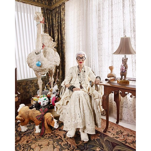 Interior, fashion designer and business woman Iris Apfel for Alexander McQueen