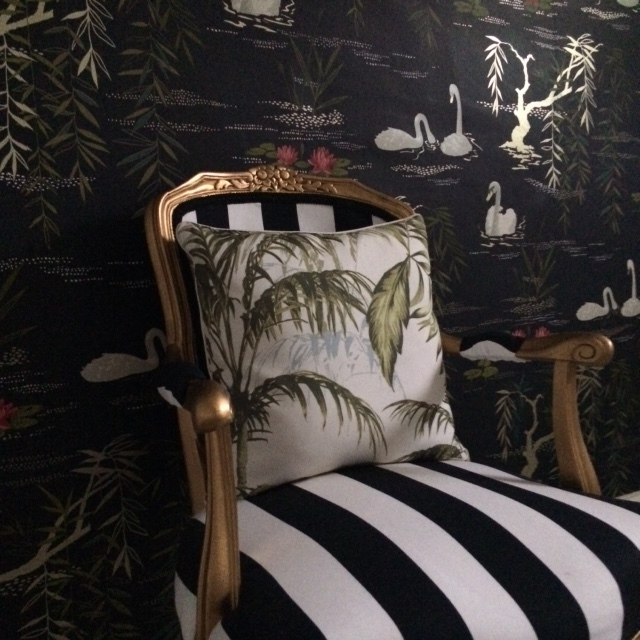 Sainsbury's Botanist cushion and Ikea striped fabric.  Swan Lake wallpaper  £67 per roll by Nina Campbell.
