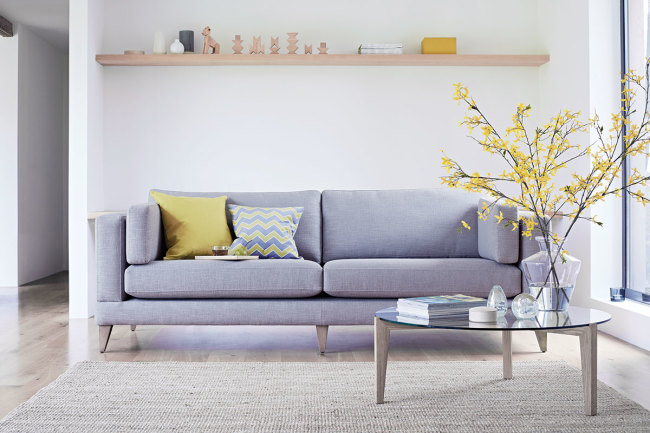 Mallory sofa in rabbit's foot from  The Lounge Co.