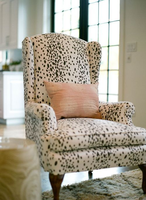 Leopard print chair and pink cushion - image from Pinterest