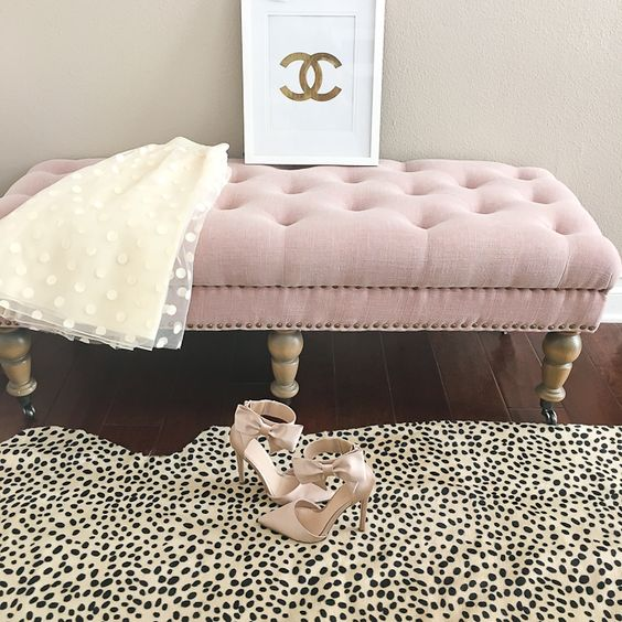 Leopard print rug and pink footstool - image from Pinterest