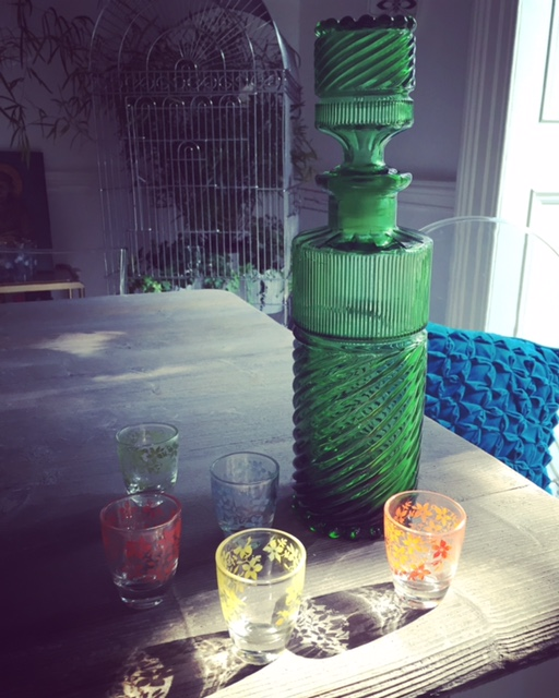 Emerald green decanter and pretty coloured shot glasses proved an insta-hit this week