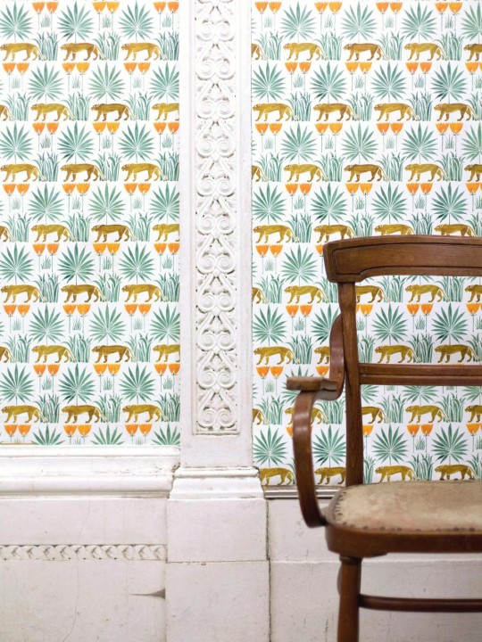 Lioness and Palms wallpaper £140 per roll by  Common Room