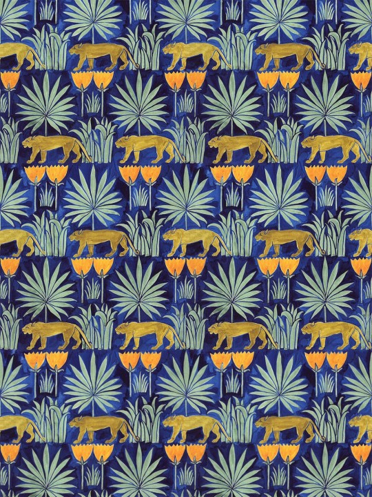 Lioness and Palms wallpaper in Midnight by Common Room
