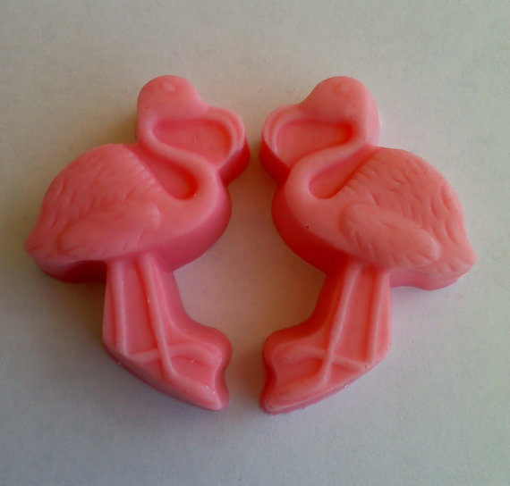 12 pink chocolate flamingos £4.95 + shipping from  Etsy
