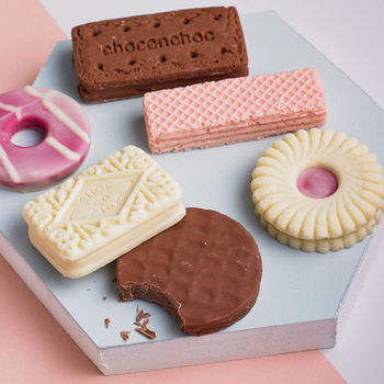 Box of biscuit shaped chocolates £10 Choc on Choc by  Notonthehighstreet