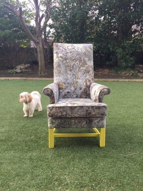 """It was fine before she painted the bloody legs yellow.""  Vintage Parker Knoll upholstered in Faded Grandeur from the Upperlands collection by Earthed. Legs in Farrow and Ball Yellow Cake."