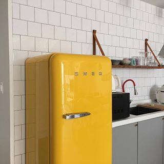 Yellow SMEG refrigerator £993  John Lewis