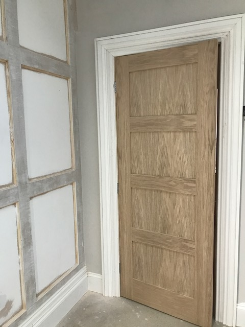 My new four panel door pre-painting.