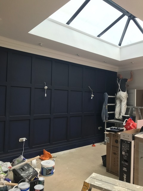 Panelled wall colour matched to Magnet's Newbury Midnight kitchen. Railings by Farrow and Ball is similar.
