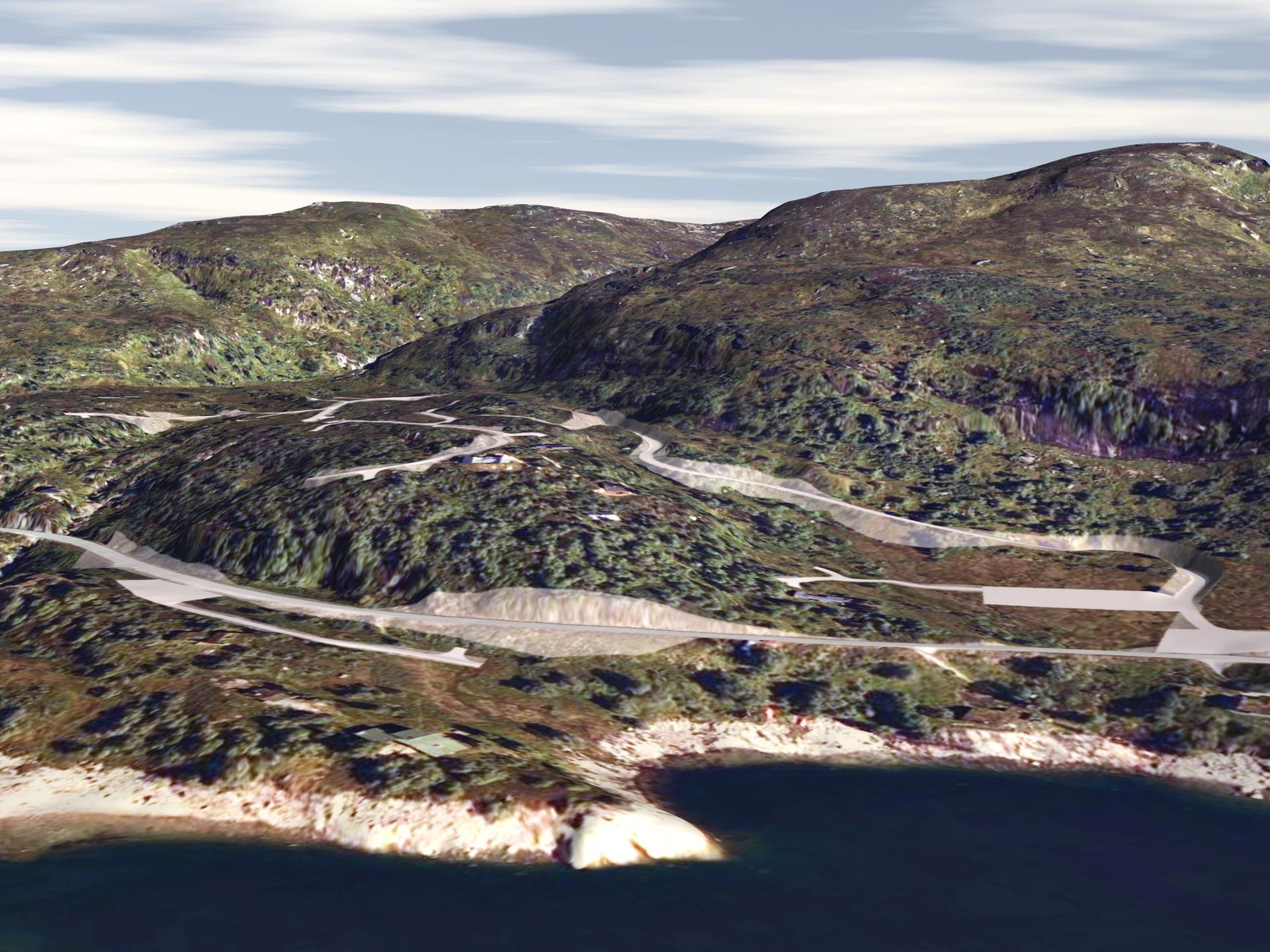 3D-visualisering av veiprosjekt ved Gravasstølen i Sirdal