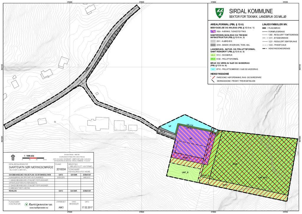 Reguleringsplan for Svartevatn Sør Næringsområde, Sirdal kommune
