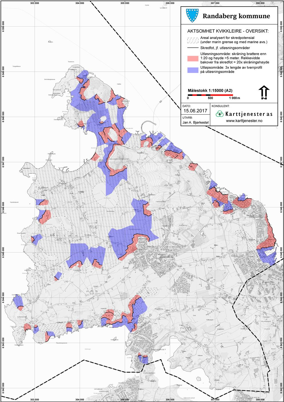 2. Kart over utløsnings- og utløpsområder for potensielle kvikkreireskredd