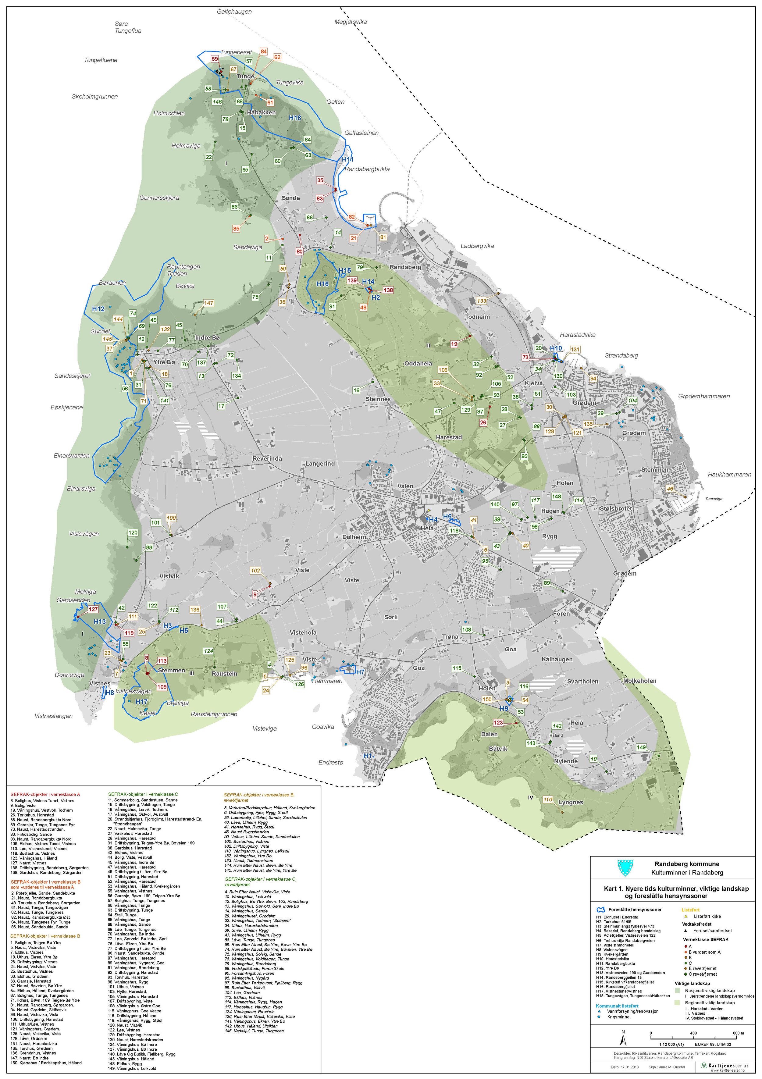 Kart 1. Nyere tids kulturminner, viktige landskap og foreslåtte hensynssoner