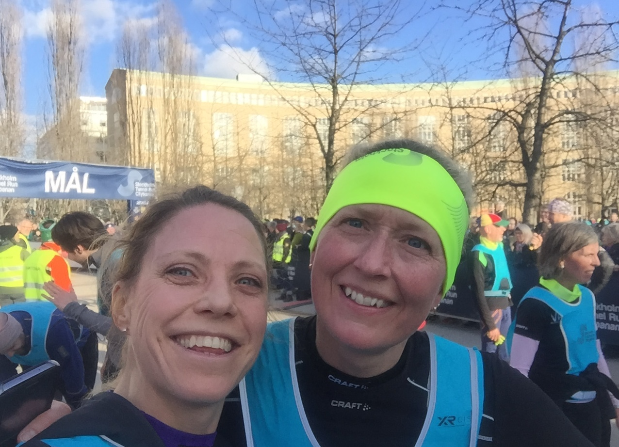Two big smiles after finished! Running with a friend could be so much funnier.