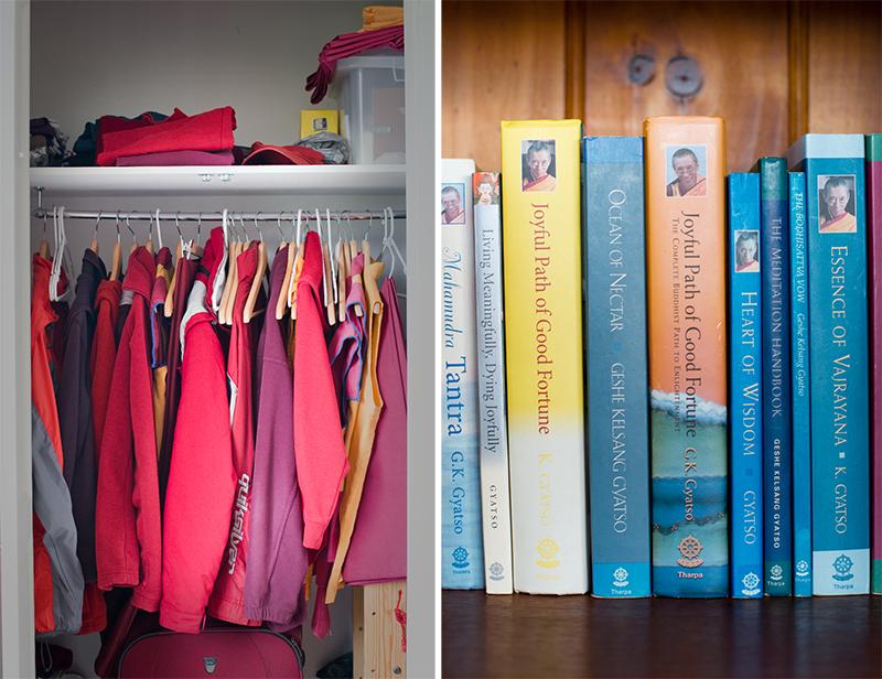 Dornying's wardrobe and bookshelf.