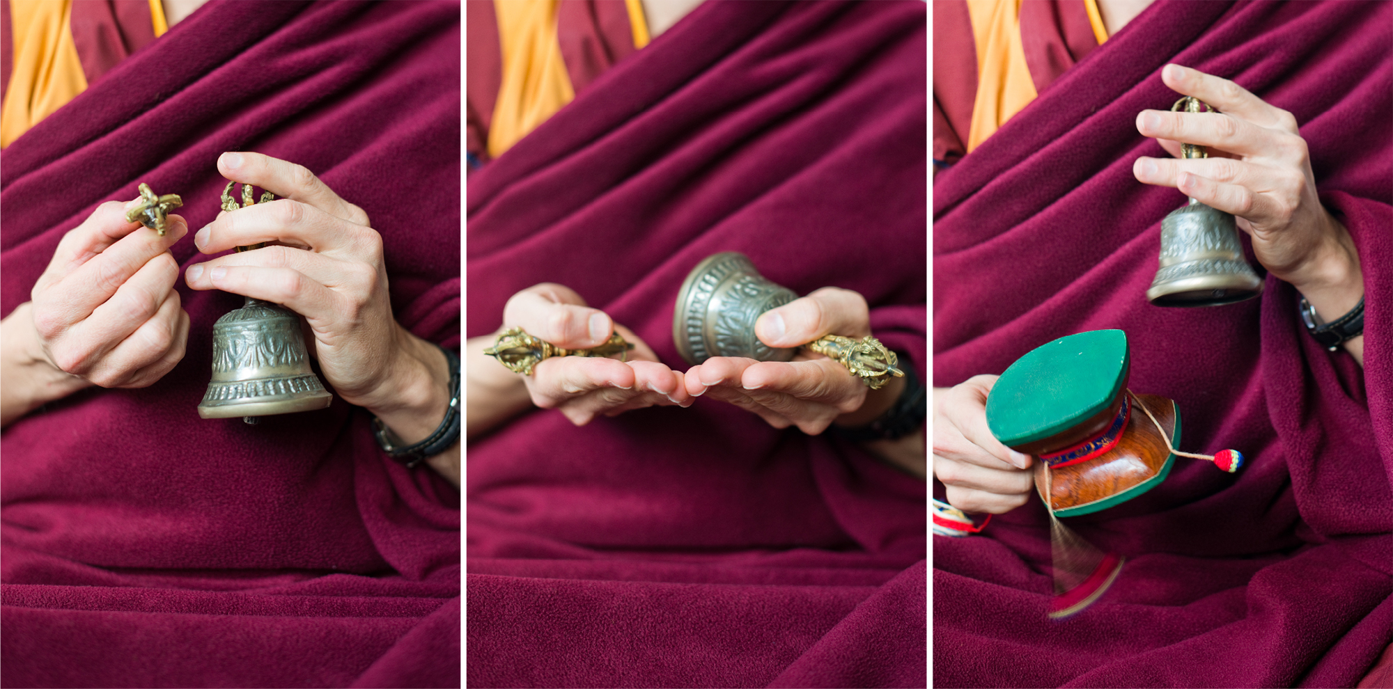 These are the Tantric implements used in puja. The bell, Vajra and Damaru (drum) together symbolise wisdom and the great, indesctructable bliss found through attaining enlightenment.