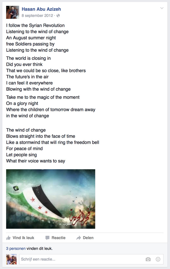 Lyrics from the 'Wind of Change' of the Scorpions, translated into the hope for Syria.