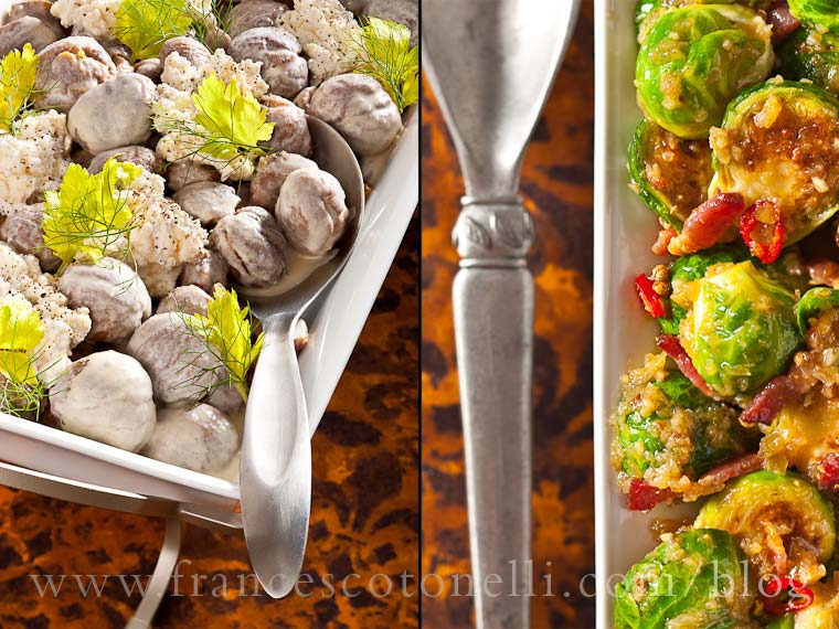 Creamy Chestnuts and Brussel Sprouts with Bacon