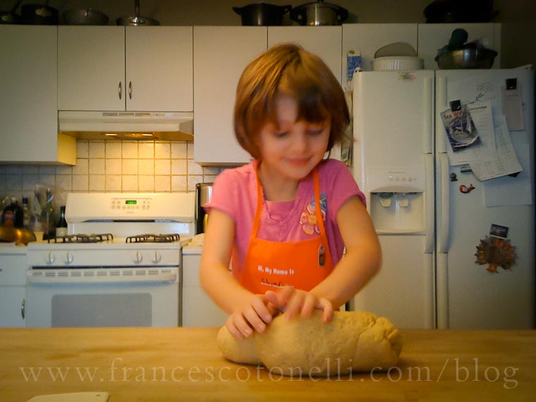 Girl making pasta