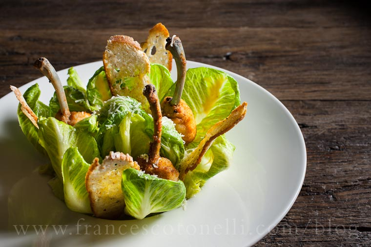 Chicken Kiev Caesar salad